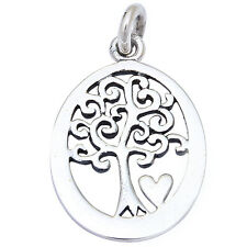 """Solid Tree of Life .925 Sterling Silver Pendant 1"""" long"""