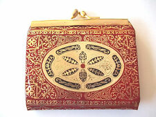 Italian Tooled Leather Coin Change Purse Florentine Gilded Hand Made Red Gold