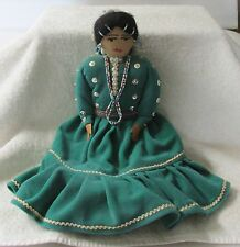 "HANDMADE DOLL, NAT. AMERICAN WOMAN,VINTAGE 14"" CLOTH W/CLOTHING & JEWELRY, GOOD!"