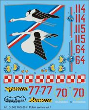 MiG 29 A FULCRUM A - POLISH AF MARKINGS 1/48 MODELMAKER
