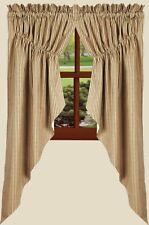 "LINED GATHERED PRAIRIE CURTAIN SWAGS 72"" W X 63"" L  BLACK YORK TICKING COTTON"