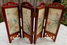 Vintage Asian Chinese Miniature Silk Wood 4 Panels Folding Screen Handpainted