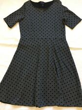 Women's Dress Lands End Size 14-16 Grey With Black Polka Dot