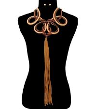 BIG FAUX LEATHER/SUEDE Statement EGYPTIAN TASSEL CHOKER Necklace & Earrings-BRWN