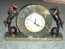 VTG. BRONZE GLADYS BROWN EDWARDS HORSE GREEN MARBLE ONYX  ELECTRIC MANTEL CLOCK