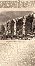 69 LYON RESTES DE L AQUEDUC ROMAIN DE BONNANT PRESS ARTICLE 1860 OLD PRINT