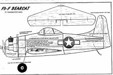 "1/2 A F8-F BEARCAT Model airplane plan with a  21"" Baby Ringmaster wing"