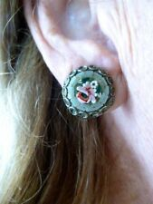 Authentic Vintage 1950's Italy Micromosiac Clip Earrings Green Tones