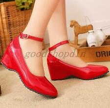 2017 Women's Patent Leather Mid Hidden Heels Loafers Ankle Strap Shoes Red US15