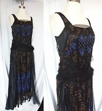 Vtg Antique 1920s Heavily BEADED Black Net Silk FLAPPER Dress Gown