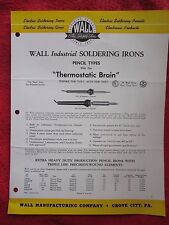 1950's WALL SOLDERING PRODUCTS SOLDERING IRONS BROCHURE