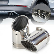 2X STAINLESS STEEL EXHAUST TAIL REAR MUFFLER TIP PIPE CHROME For Audi VW
