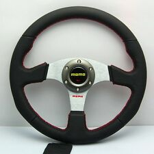350mm Diam Genuine Leather Alloy Stand Steering Wheel Flat MOMO OMP Racing Rally