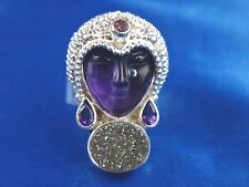 SAJEN Hand Crafted Sterling Silver Druzy Ring w/ Amethyst Goddess Face Size 7.5