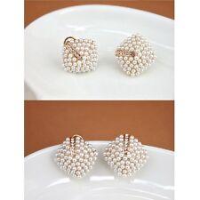Women's Pearl Rhombus Crystal Rhinestone Gold Plated Stud Earrings Gift UK