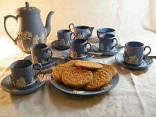 "Magnificent ""Wedgwood Blue Jasper Ware"" 22 piece Coffee Set, Beautiful !!!!."
