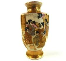 ANTIQUE JAPANESE MEIJI SATSUMA MINIATURE POTTERY VASE CHARACTER MARK TO BASE
