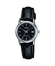 Casio Women's Black Leather Strap Watch, Black Dial, Date, LTP-V002L-1A