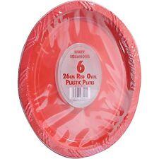 12 X bandejas Oval Rojo Platos de plástico Vajilla de Fiesta de Cumpleaños Barbacoa desechables