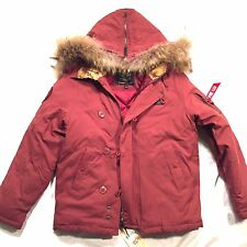 NEW ALPHA INDUSTRIES MAROON RED ELEVON MURMANSKY FUR PARKA DOWN JACKET M MEDIUM