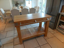 Large ENGLISH OAK butchers block kitchen island table storage furniture rustic
