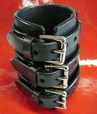 "4"" BLACK Leather WRIST CUFF bracelet Made by FREDDIE MATARA in NYC USA"