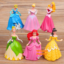 6x Disney Princess Cinderella Aurora Belle Ariel Doll Toy Cake Topper Figurine