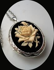 Victorian IVORY CREAM Colored ROSE on Black Cameo SILVER PLTD LOCKET Necklace
