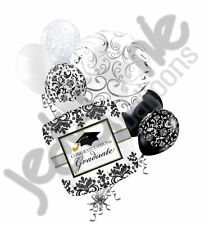 7pc Black & White Damask Congratulations Grad Balloon Bouquet Graduation Congrat