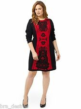 London Times Sweater Dress Long Sleeved Printed Black RED NWOT 1X