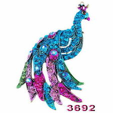 Fashion Colorful Tone Crystal Peacock Bird Brooch Pins Rhinestone Jewelry Gifts