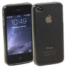 GREY APPLE iPHONE 4 / 4S SOFT SILICONE GEL RUBBER CASE: FROSTED BACK TPU M23