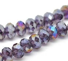 1 STRAND (72) PURPLE AB CRYSTAL FACETED RONDELLE BEADS ~8mm~ Bracelets (43A)