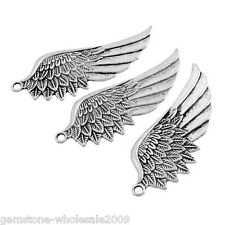 W09 10PCs Tibetan Silver Tone Wing Pendant Angel Charm Fashion Jewelry Findings