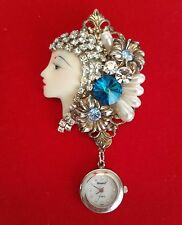 vintage blue rivoli rhinestone lady flapper head brooch watch