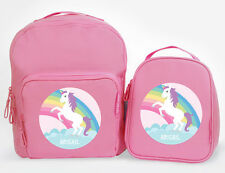 Bright Star Kids Personalised Matching Backpack and Lunch Bag - Unicorn Rainbow