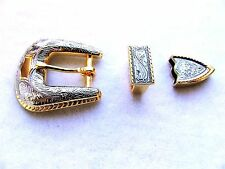 "Gold & Silver Color Vintage Western Style Engraved 3/4"" Belt Buckle Set"