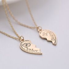 Newest Couple Mother And Daughter Heart To Heart Golden Pendant Necklace Chains