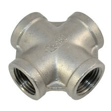 """1/2"""" Threaded 4 Way Female Cross Coupling Connector SS 304 Pipe Fitting NPT NEW"""