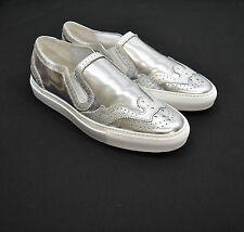 New! Givenchy Brogue Skate Slip On Sneaker Metallic Silver /Lizard Sz 10 US $825