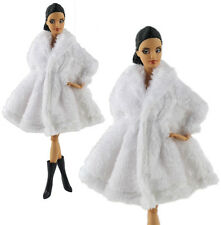 2in1 Fashion Gorgeous Outfit White Fur Coat Clothes +Boots FOR Barbie Doll