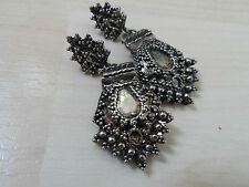 Large Antique Style Silver Tone Filigree Style Earrings for Pierced Ears
