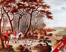 CHASING THE FOX HUNT HORSE FOXHUNTING HUNTING ART PAINTING REAL CANVAS PRINT