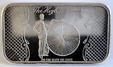 .999 FINE SILVER HIGH WHEELER ANTIQUE BICYCLE BY MADISON MINT 1 TROY OZ ART BAR