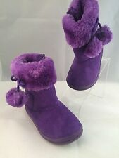 Dooballo Toddler Baby Girl Purple Faux Suede Boots Zipper Pom Poms Size 5