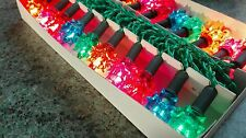 RARE VINTAGE BOXED 20 XMAS CHRISTMAS FAIRY LIGHTS PUSH IN OLD STOCK  5 COLOURS