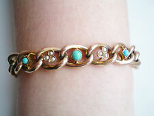 Fine Antique Victorian 9ct Gold Curb Link Bracelet with Turquoise & Pearls c1897