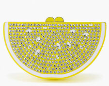 KATE SPADE Yellow VIA LIMONI CLUTCH Handbag LEMON Resin CRYSTAL Chain SOLD OUT !