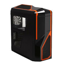 NZXT PHANTOM 410 BLACK ORANGE ATX USB 3 PC CASE WITH SIDE WINDOW & COOLING FANS