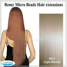"22""India Remy Micro Beads Hair extensions  25pcs Light Blonde #613 DOUBLE DRAWN"